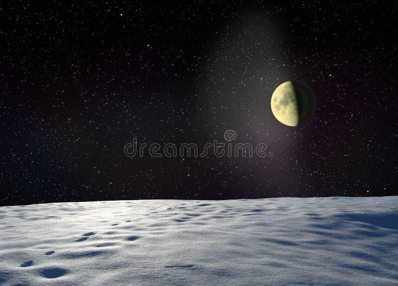 Луна накаляя около поверхностной неизвестной планеты иллюстрация вектора