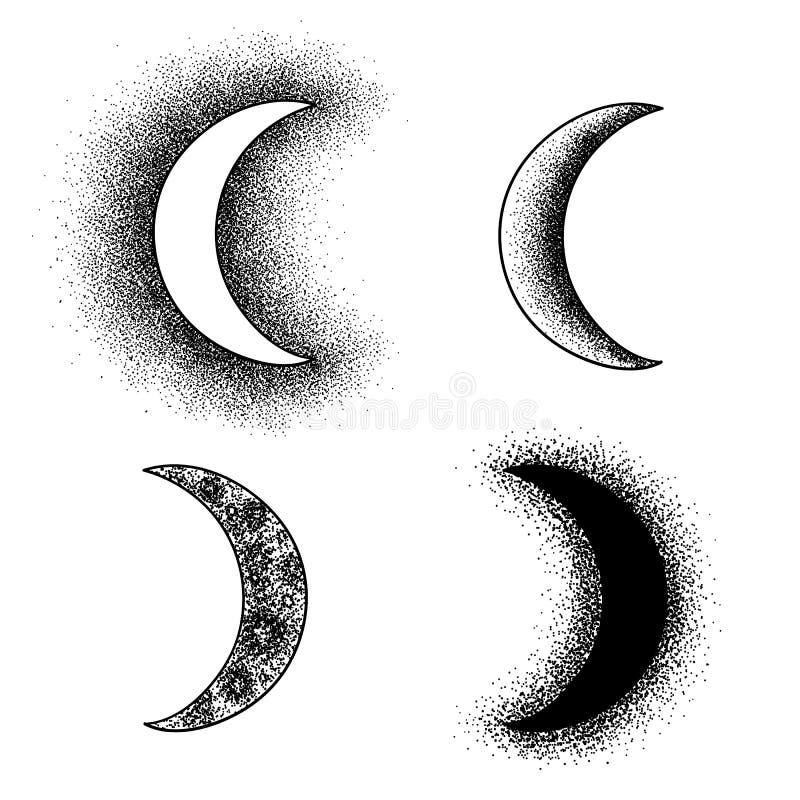 Луна нарисованная рукой фазирует силуэты иллюстрация вектора