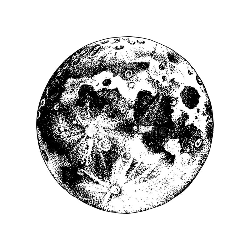 Луна нарисованная рукой иллюстрация штока