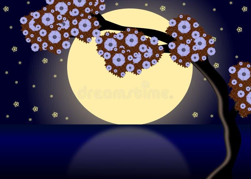 Луна на озере ghe иллюстрация вектора