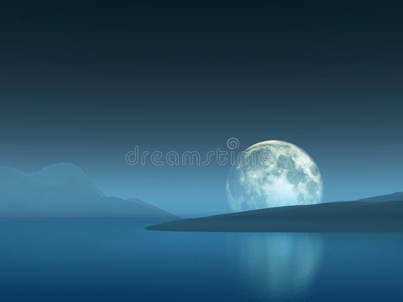 Луна над холмами бесплатная иллюстрация