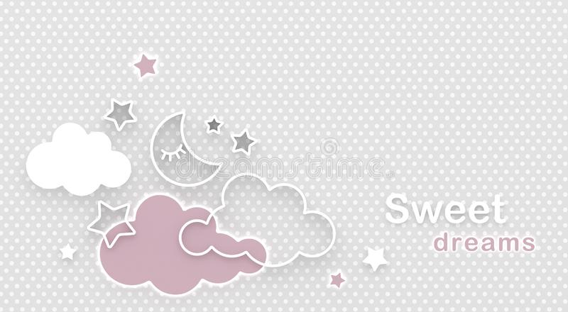 Луна, облака и звезды спать мультфильма в ночном небе Желать спокойную ночь и сладкие мечты космос приветствию экземпляра карточк иллюстрация штока