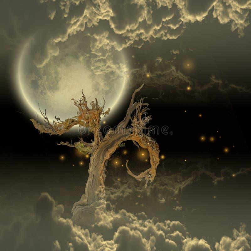 Луна и звезды дерева иллюстрация штока