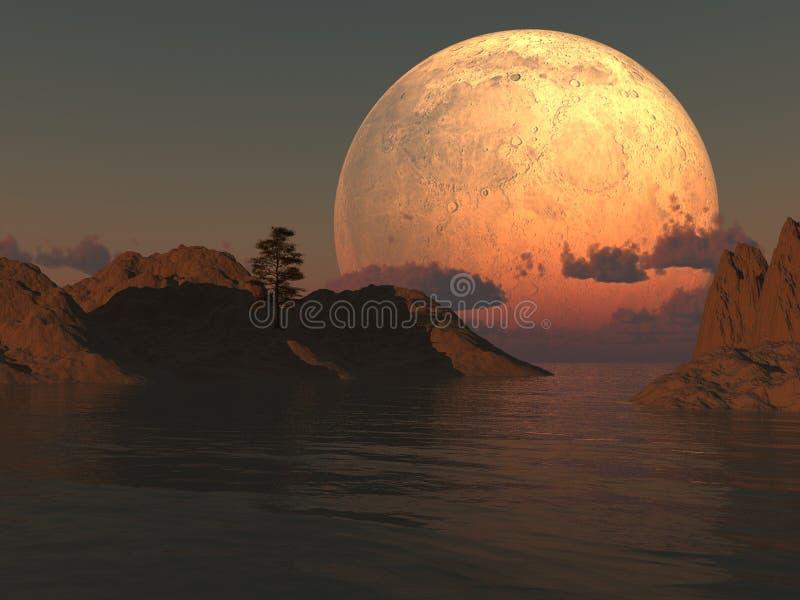 луна озера острова бесплатная иллюстрация