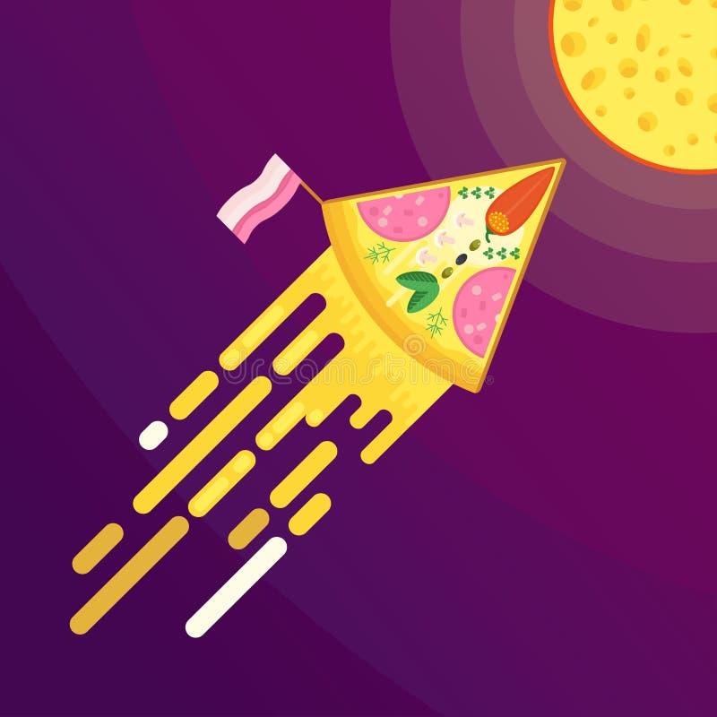 Луна пиццы и сыра бесплатная иллюстрация