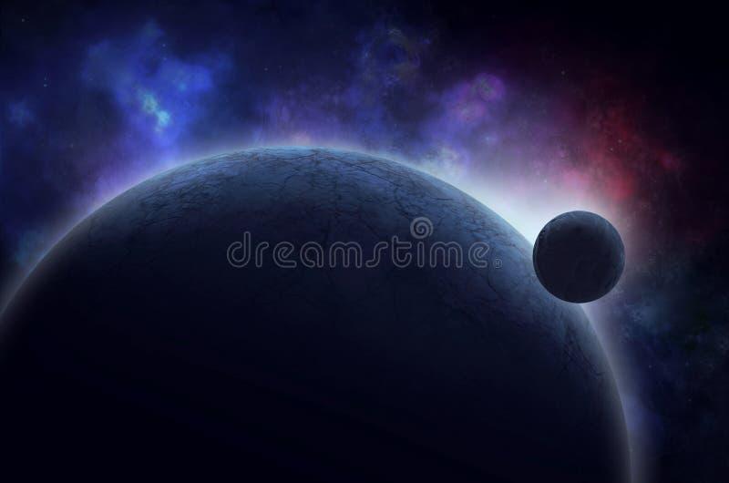 Луна поднимая над замороженной планетой в космосе иллюстрация вектора
