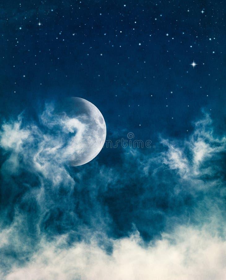 луна полночи тумана стоковая фотография