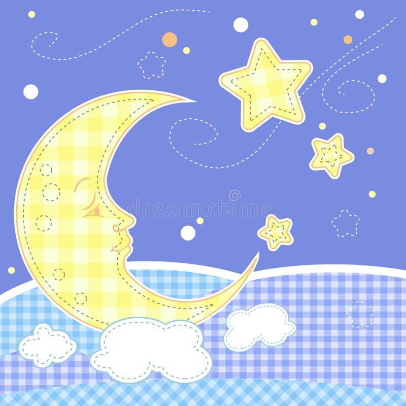 луна приветствию карточки младенца милая иллюстрация штока