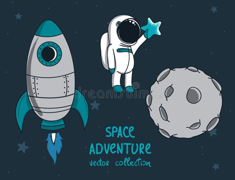 Луна, ракета и маленький смешной астронавт иллюстрация вектора