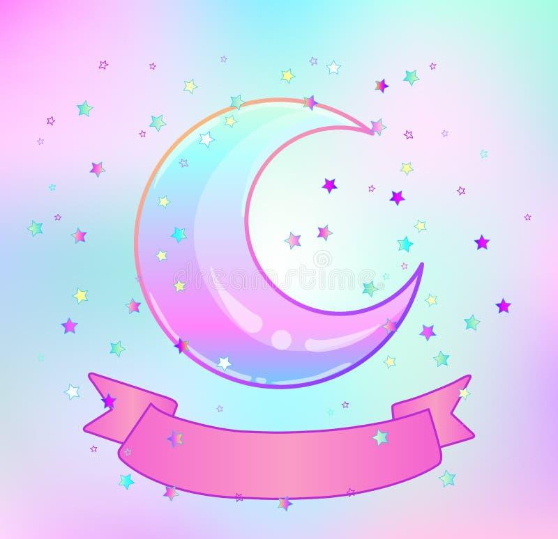 Луна радуги, розовая лента и красочные звезды на белизне иллюстрация вектора