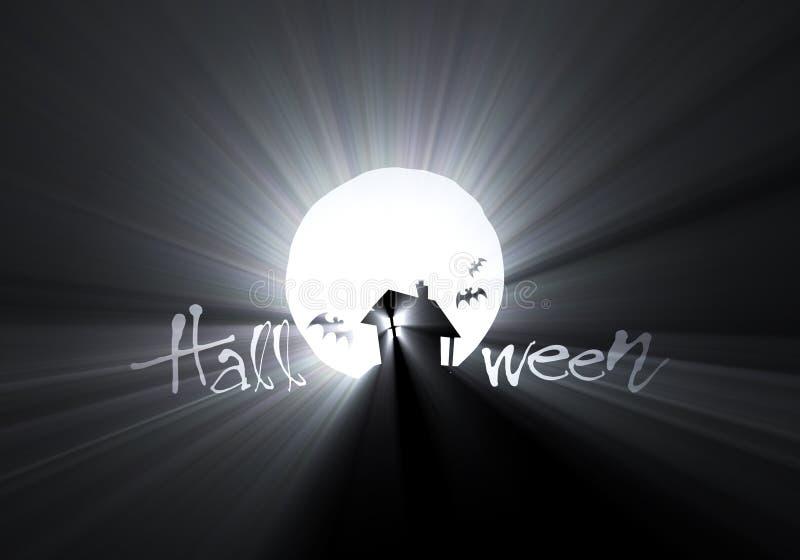 луна света хаты halloween пирофакела летучей мыши иллюстрация вектора