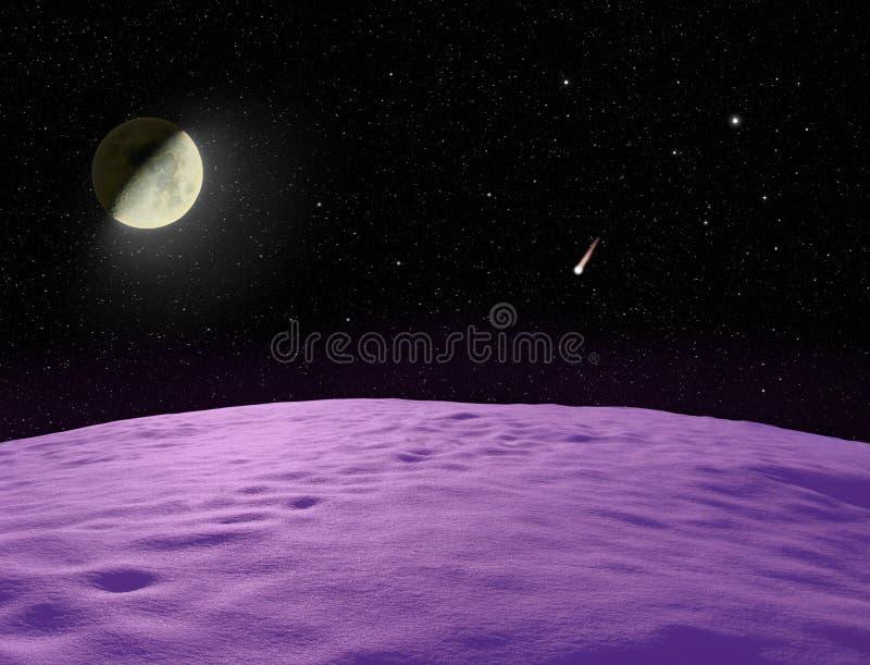 Луна светя над необжитой фиолетовой планетой бесплатная иллюстрация