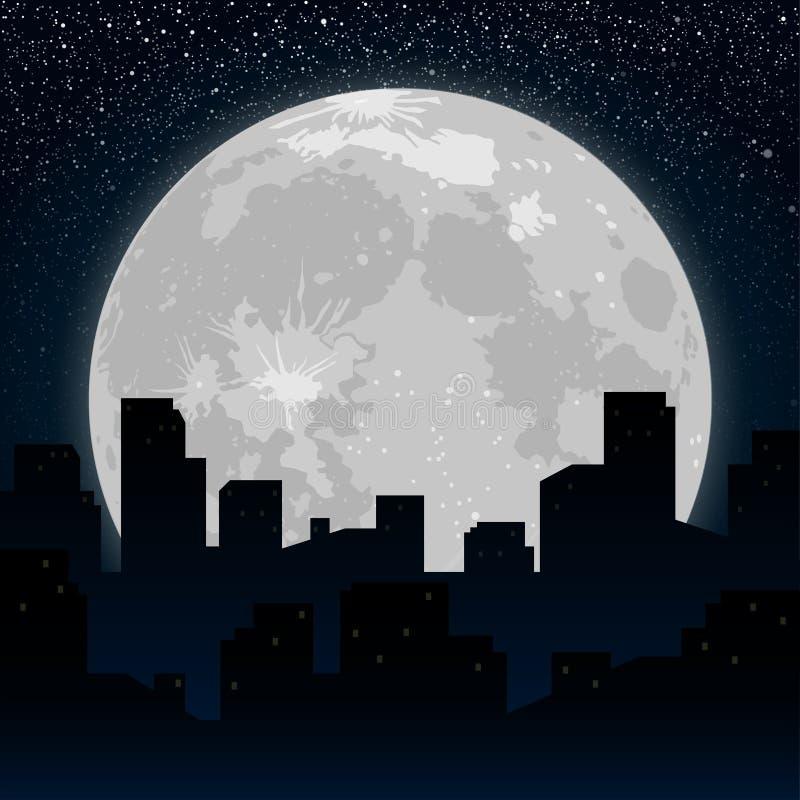 Луна Силуэт предпосылки города на ноче иллюстрация вектора