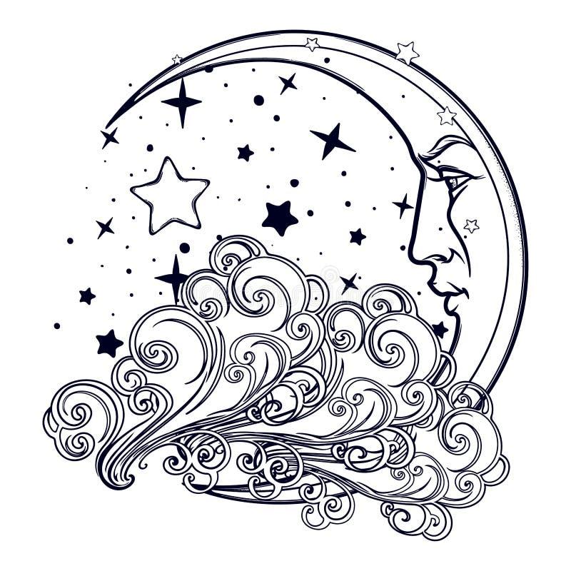 Луна стиля сказки серповидная при человеческое лицо отдыхая на курчавом богато украшенном облаке с звёздным небом nignht позади иллюстрация штока