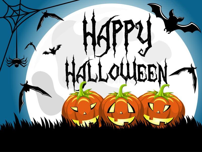 Луна счастливых тыкв предпосылки хеллоуина большая иллюстрация вектора