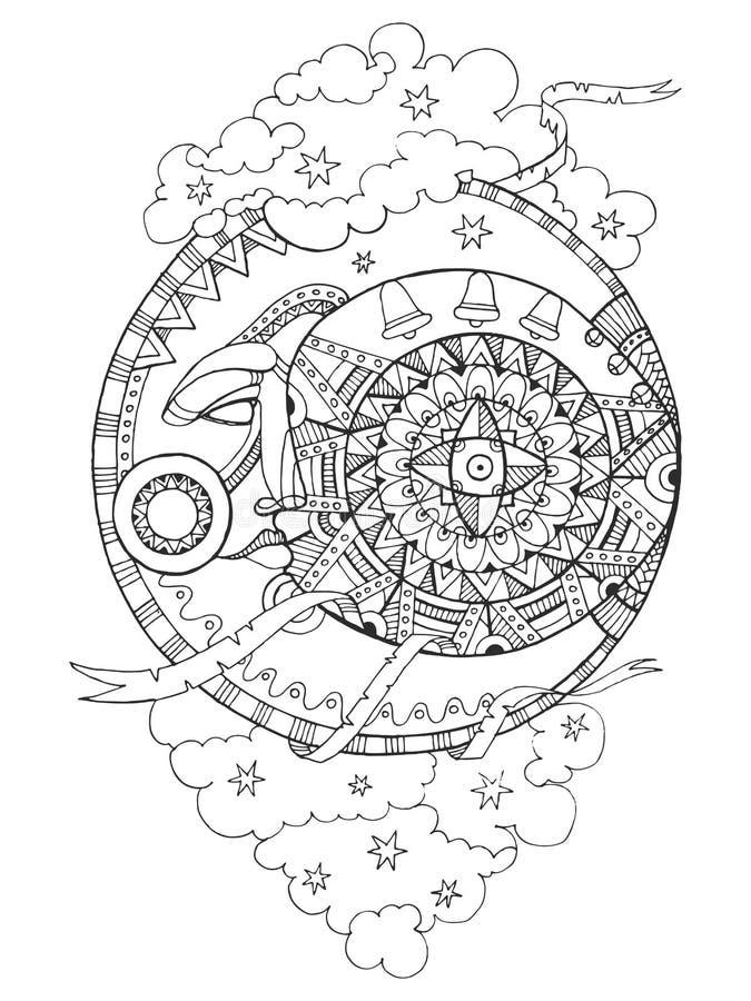 Луна с книжка-раскраской чертежа стороны для взрослых иллюстрация штока