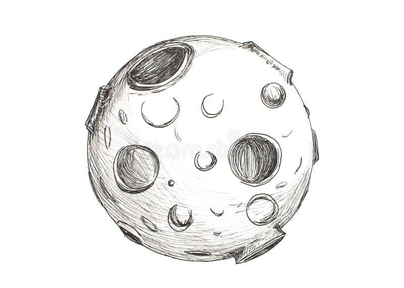 Луна с кратерами рисуя карандаш на белой предпосылке стоковая фотография