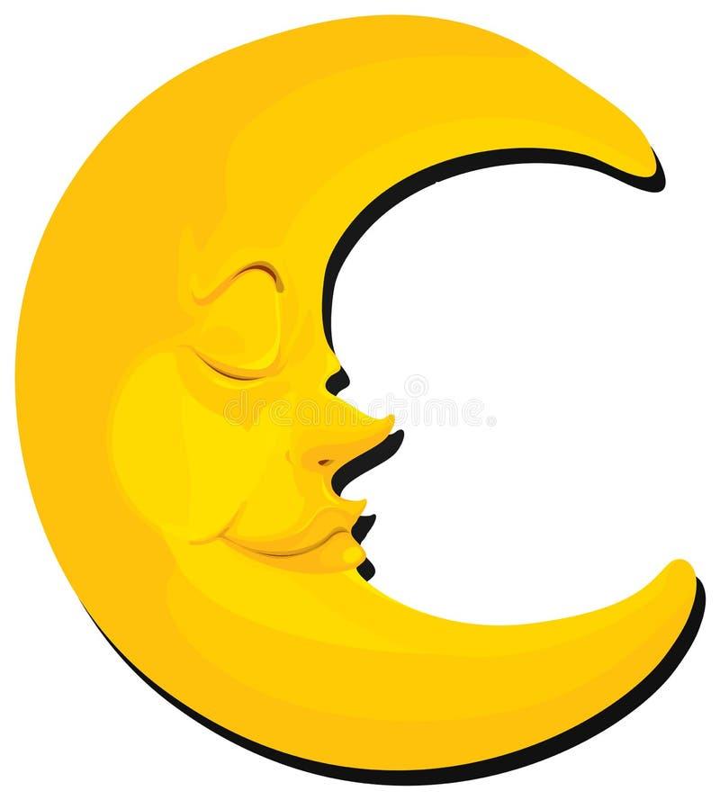 Луна с стороной на белой предпосылке иллюстрация вектора