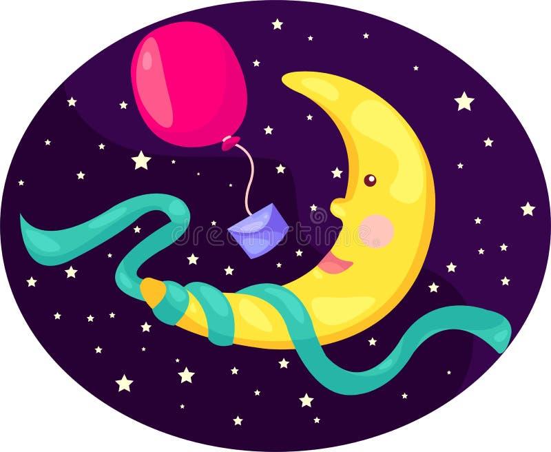 Луна шаржа с воздушным шаром иллюстрация штока