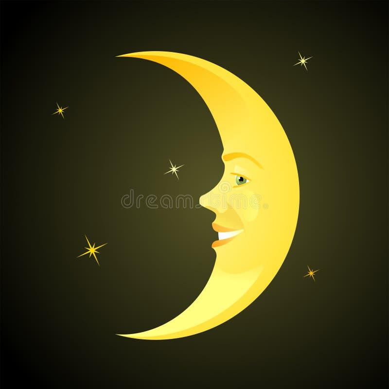 луна шаржа horned иллюстрация вектора