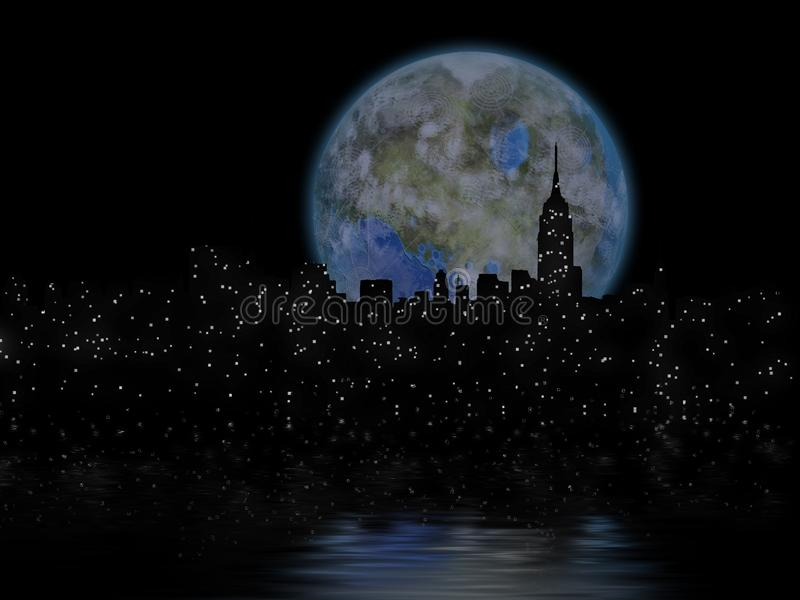 Луна Terraformed над Манхаттаном иллюстрация штока