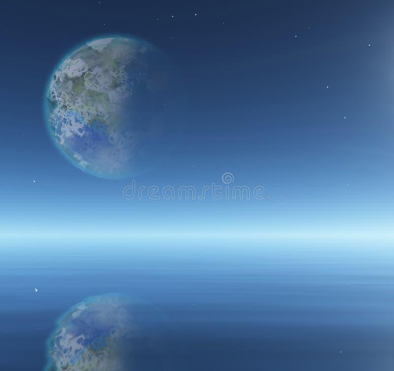Луна Terraformed над водой иллюстрация штока