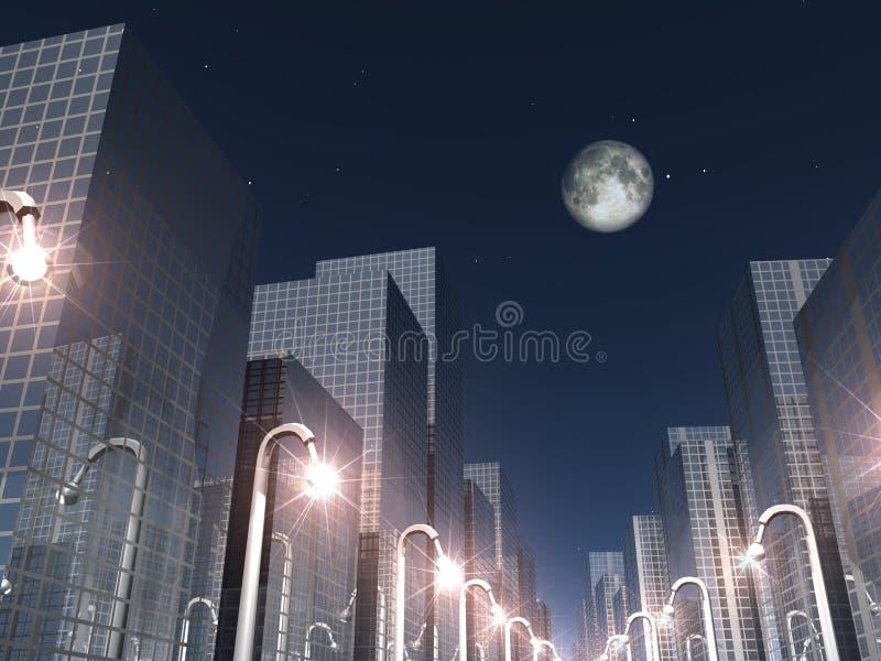 лунный свет города иллюстрация штока