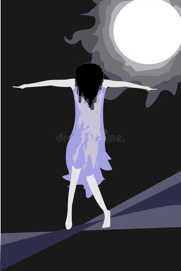 лунный свет девушки усиленный вниз иллюстрация вектора