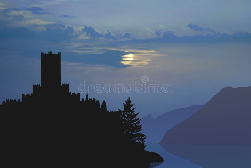 лунный свет итальянки замока иллюстрация штока