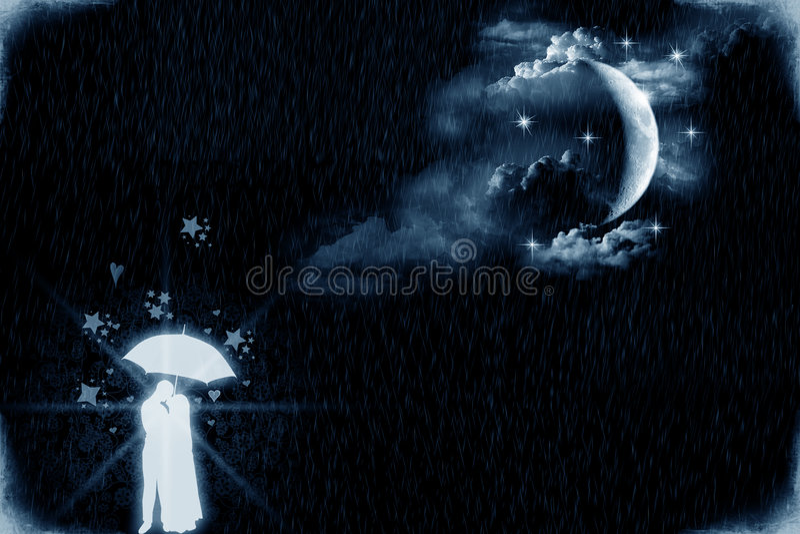 лунный свет любовников иллюстрация вектора