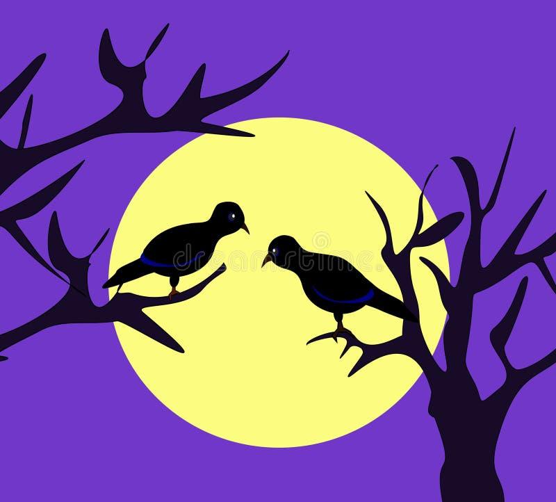 лунный свет птиц иллюстрация штока