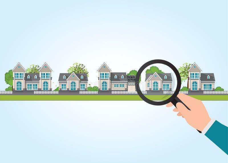 Лупа в человеческой руке с значком дома бесплатная иллюстрация