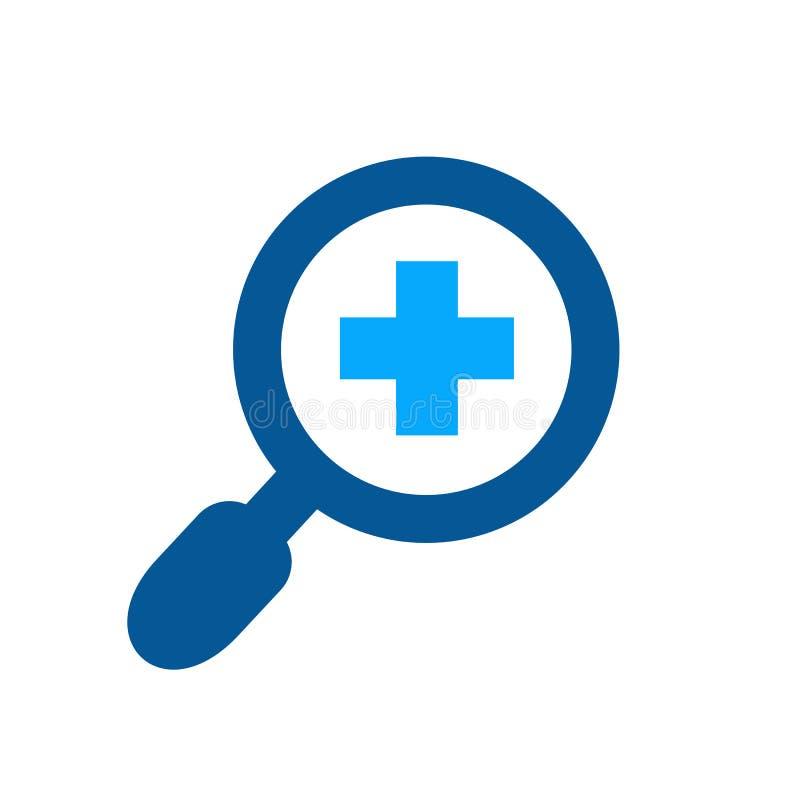 Лупа и добавочный символ, увеличивают стеклянное и положительный дизайн логотипа вектора, сигналит внутри концепция значка бесплатная иллюстрация