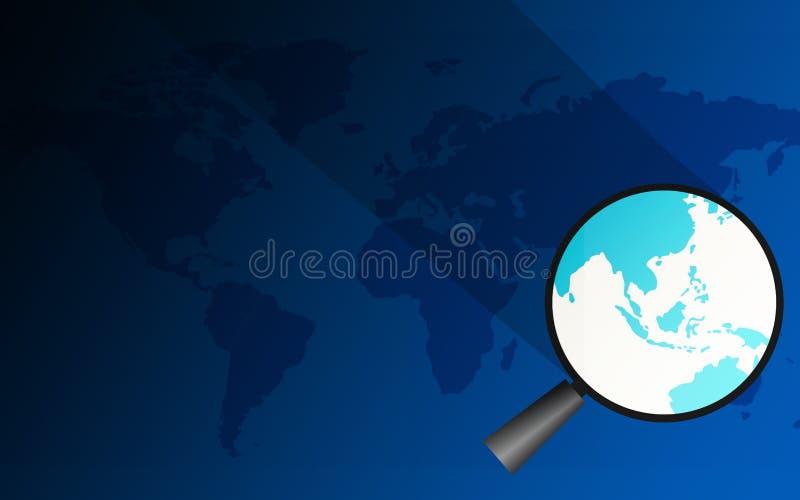 Лупа над Юго-Восточной Азией иллюстрация вектора