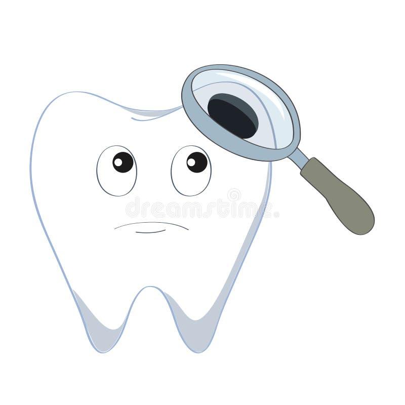 Рассмотрение зуба иллюстрация вектора