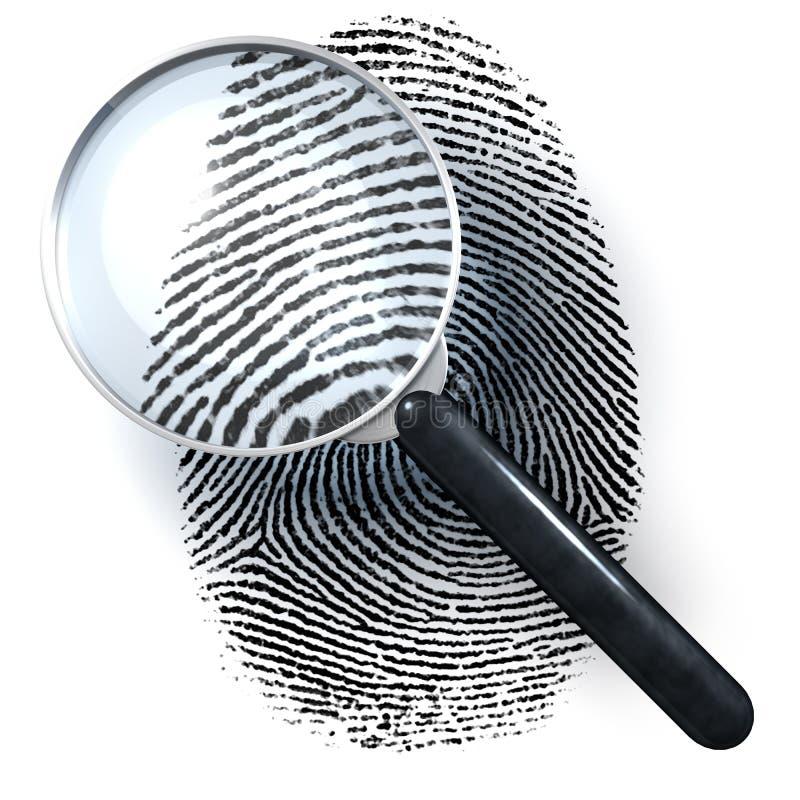 Лупа над отпечатком пальцев стоковые изображения rf