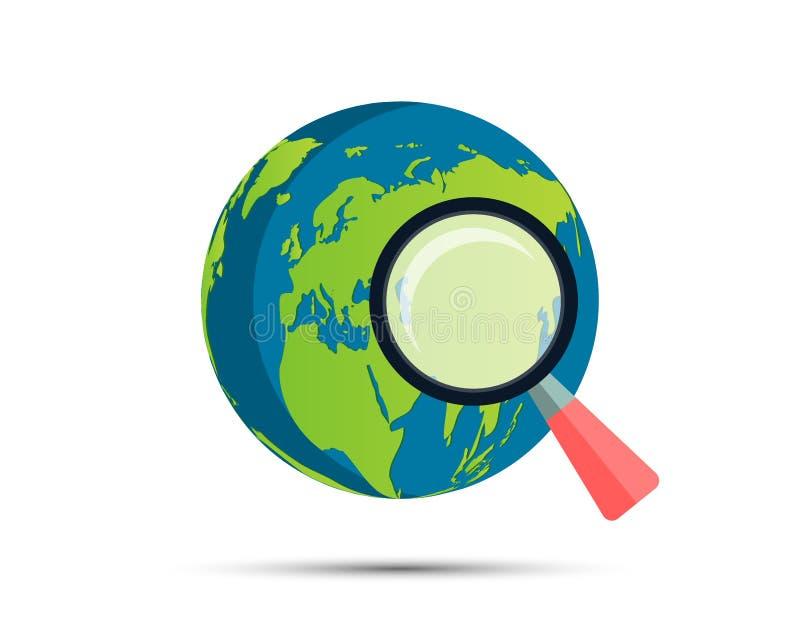 Лупа на стиле простого дизайна мира карты предпосылки также вектор иллюстрации притяжки corel иллюстрация штока