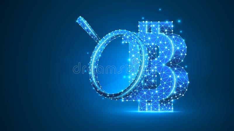 Лупа на cryptocurrency Bitcoin Изучение конъюнктуры рынка, безопасность дела, концепция исследования денег Конспект, цифровой иллюстрация штока