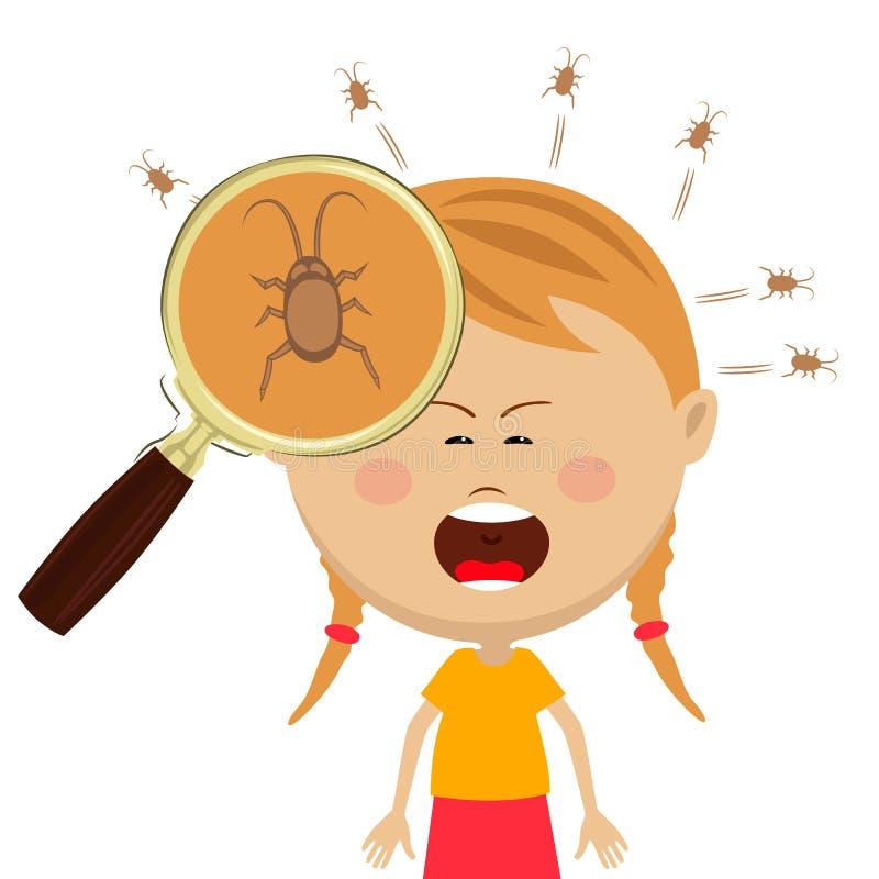 Лупа показывает вош в голове маленькой девочки cryng бесплатная иллюстрация