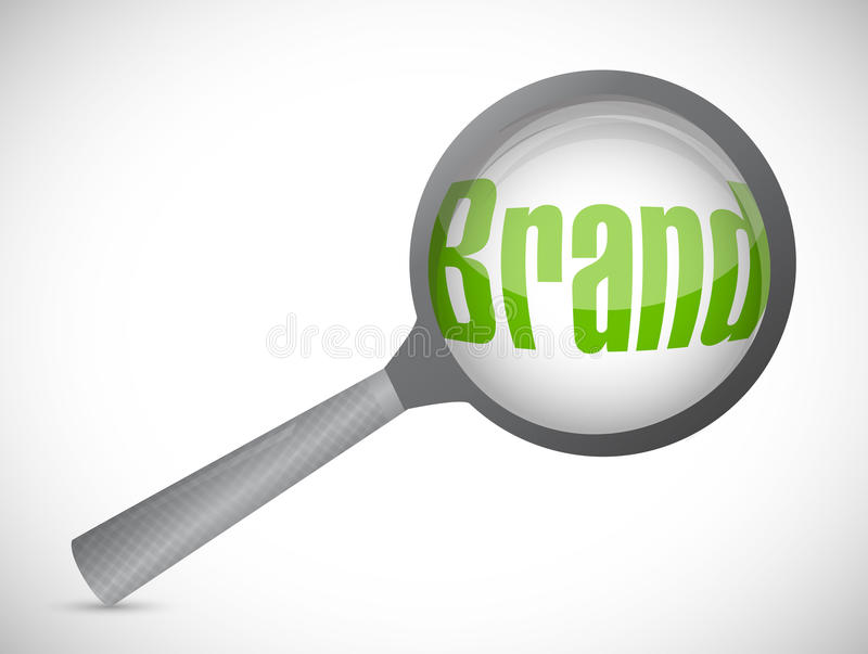 Лупа показывая слово бренда иллюстрация штока