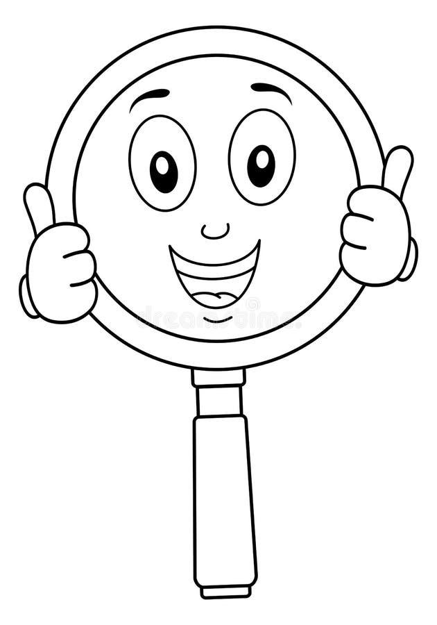 Лупа расцветки с большими пальцами руки вверх иллюстрация вектора