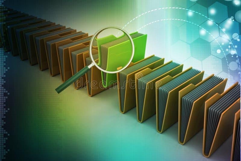 Лупа с папкой файла иллюстрация вектора
