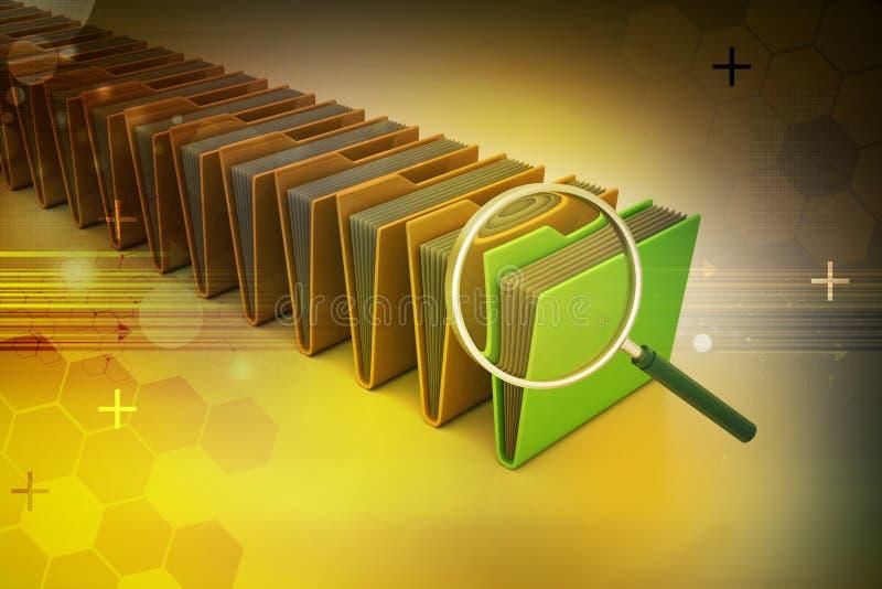 Лупа с папкой файла стоковые изображения rf