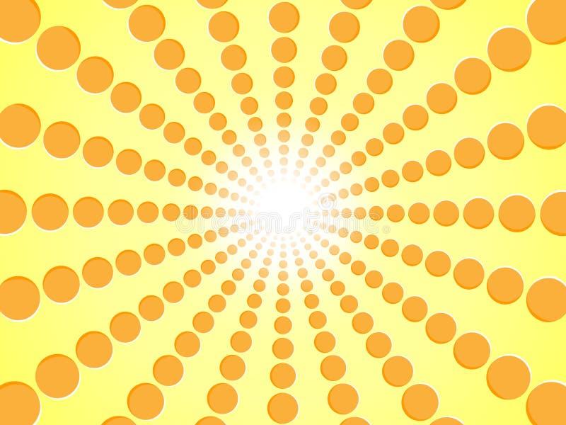 Лучи апельсина Желтое абстрактное солнце разрывало предпосылку - дизайн векторной графики солнечного света градиента от радиально иллюстрация вектора