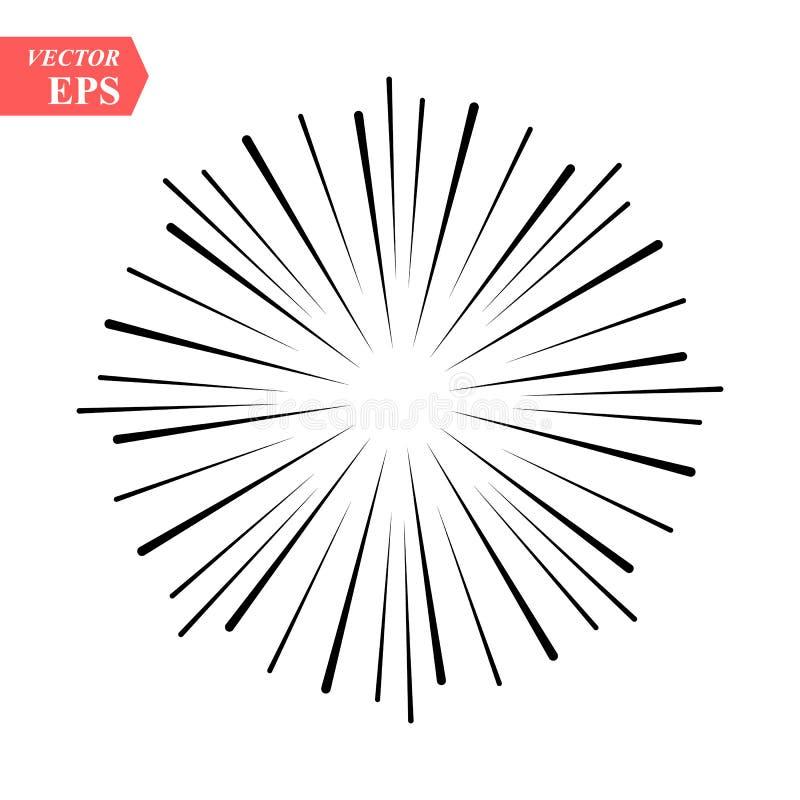 Лучи винтажных Sunburst фейерверков элемента дизайна взрыва Handdrawn черные бесплатная иллюстрация