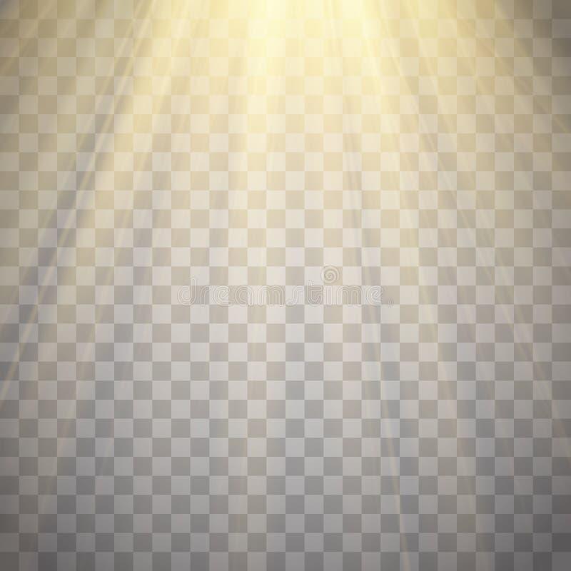 Лучи света изолированные на прозрачной предпосылке Золотистая фара Вспышка Солнця также вектор иллюстрации притяжки corel бесплатная иллюстрация