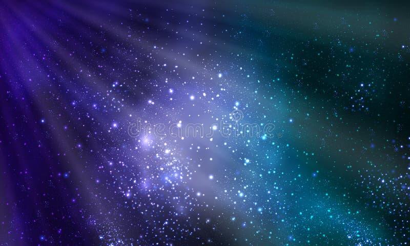 Лучи света и яркой галактики иллюстрация вектора