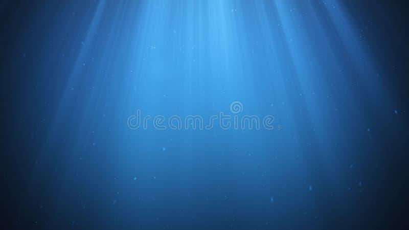 Лучи солнечного света светя сверху для того чтобы прорезать глубокое ясное открытое море Солнца под водой Небольшие пузыри двигаю бесплатная иллюстрация
