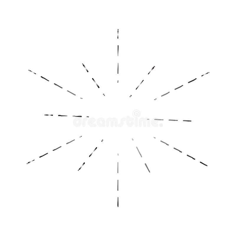 Лучи Солнца вручают нарисованный, линейный чертеж Установите ретро световых лучей, изолированный на белых черных чертежах плана,  иллюстрация штока