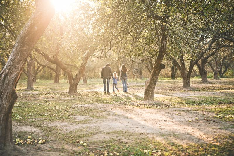 Лучи солнца осени сада ребенка семьи идя стоковая фотография rf